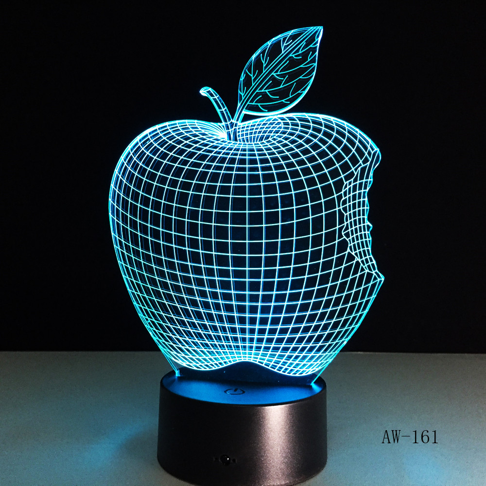 Apple 7 Colors 3D Desk Lamp LED Acrylic Vision Stereo Bedside Hologram Decor Touch Switch Light Night Light Gift For Kids AW-161