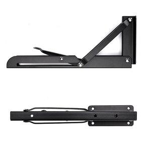Image 5 - 2 pcs 삼각형 접는 브래킷 금속 릴리스 캐치 지원 벤치 테이블 접는 선반 브래킷 홈