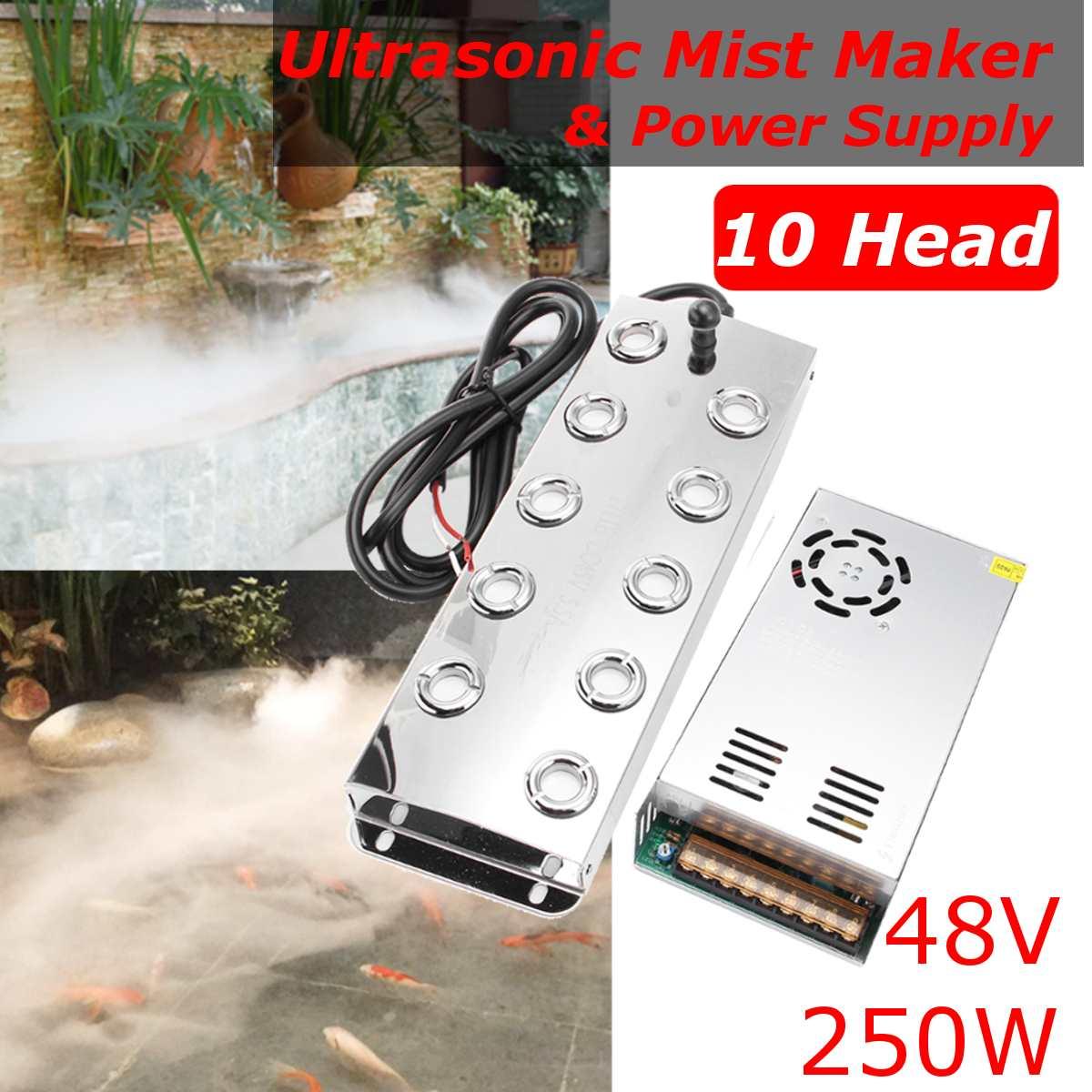 Newest 10 Head 5000ML/H Ultrasonic Mist Maker Fogger Stainless Steel Air Humidifier Greenhouse Aeromist Hydroponics+Transformer