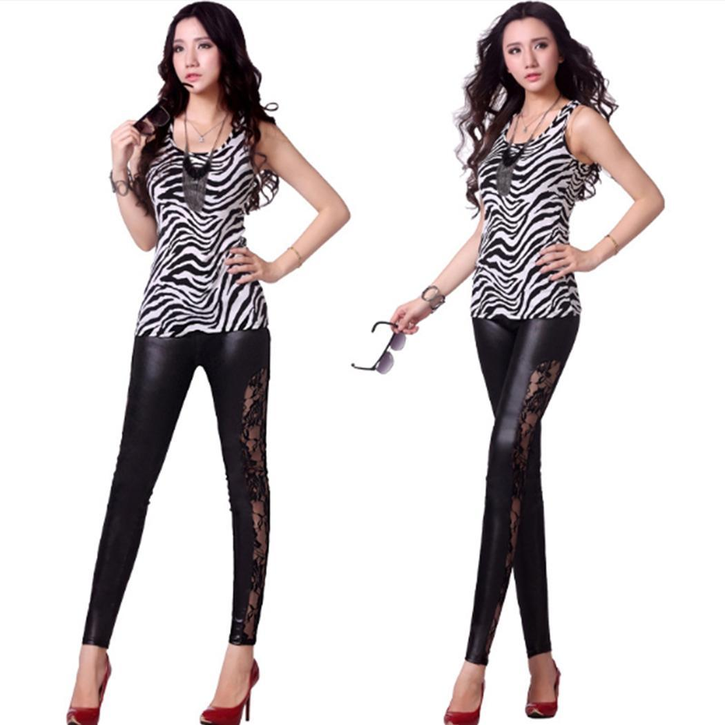 Women Casual Lace Leather Patchwork Sheer Full Winter/Spring/Autumn Slim High Waist Pants Stretchy   Leggings