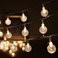 220 В 6 м 40LED Солнечная струна Круглые лампы с кристаллами многоцветный водостойкий светильник Открытый Фея лампа для фестиваля праздничный д...