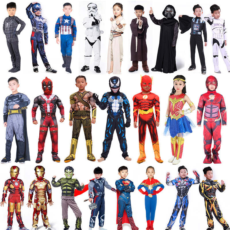 Child Captain America Venom Superman Batman Ironman Spider-man Thor Muscle Fancy Dress Boy Girl The Avengers Superhero Costume