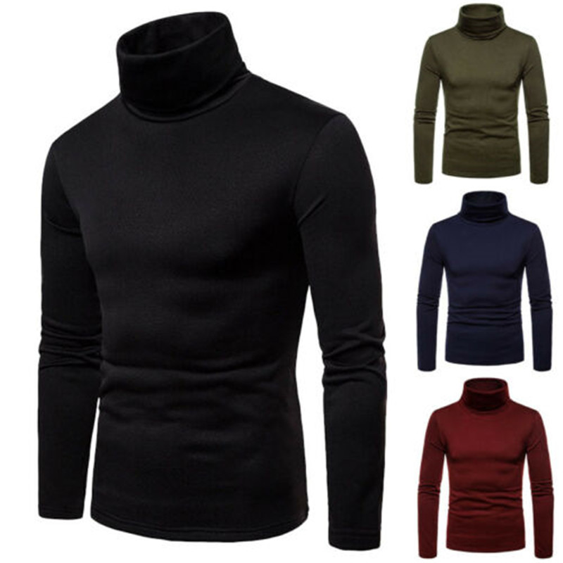 2019 New Brand Men's Thermal  Turtle Neck Skivvy Turtleneck Sweaters Stretch Casual Tops US
