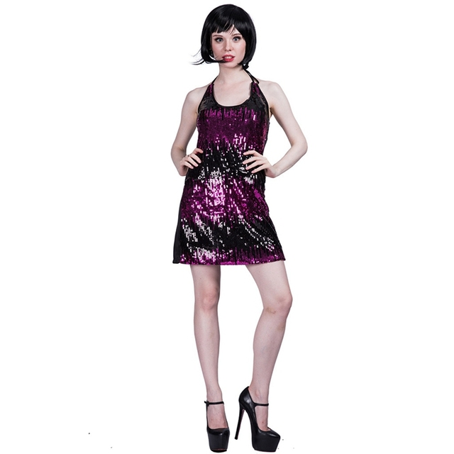 fc1cacfe2f Ladies Sequin Dress Girls Night Out Dress Womens Disco Party Sequin Short  Fancy Theme Party Costume