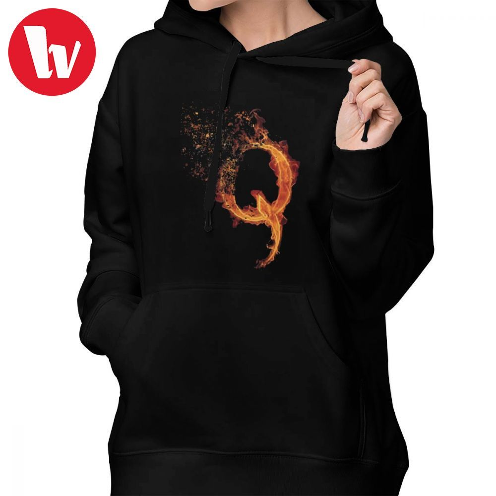 Glitch Hoodie QAnon Fiery Q For Conspiracy Theorist By Scralandore Design Hoodies Street wear Hoodies Women Pullover Hoodie image