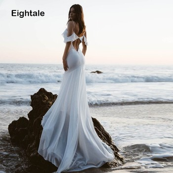 Eightale Beach Wedding Dress Spaghetti Strap Mermaid Bridal Dress Sexy White Ivory Chiffon Wedding Gowns  Vestido De Noiva New