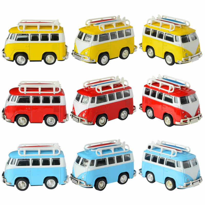 Mini Alloy Car Models Toy for Van Bus Retro Paint T1 Classic Surfing German Bus Diecast Model Children's Toy Car for Kids Gift
