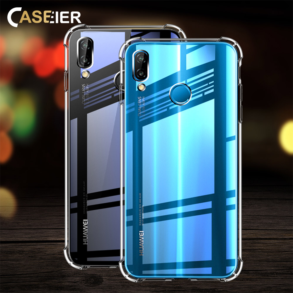 CASEIER Soft TPU Phone Case For Huawei P20 Lite P10 P8 Lite Protective Cases For Honor 8 9 Lite 10 Luxury Phone Fundas Covers in Half wrapped Cases from Cellphones Telecommunications