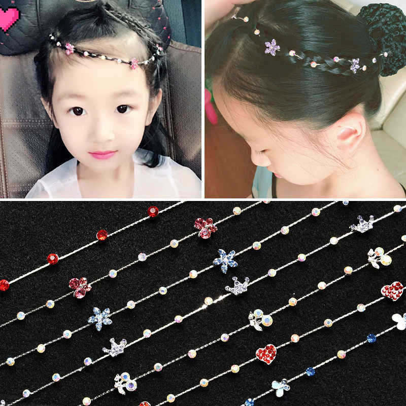 Fashion crystal headband accessories butterfly crown flower shiny headdress girl hair braided ponytail bangs hairdressing tools