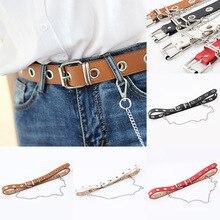 Women Punk Faux Leather Belt Chain Metal Pin Buckle Waist Silver Decorative Dress Hip Hop Jeans Belts Detachable
