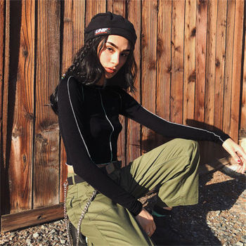 """Panie na co dzień Skinny Bolid czarny Crop topy koszulki z krótkim rękawem kobiety jesień Sexy z długim rękawem z dekoltem w kształcie litery """"Slim"""" dopasowany t-shirt"""