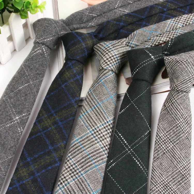 High-grade Wool Narrow Tie Tie Male Work Casual Wedding Groom 6CM Neckties Neckwear Formal Neckcloth Groomsmen Ties  Men Gifts