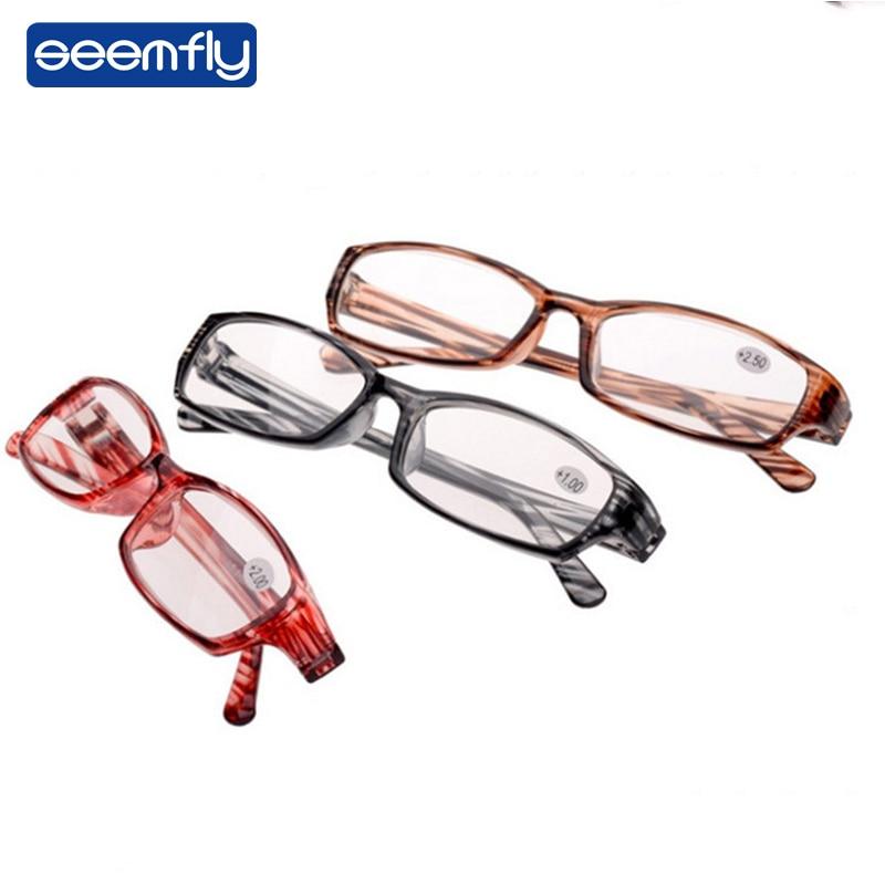 Seemfly Ultra-light Stripe Reading Glasses Clear Leans Magnifying Presbyopic Glasses Eyeglasses Oculos Gafas For Women&Men