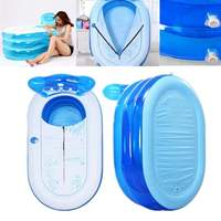 130X70X70cm Blue Large Size Inflatable Bath Bathtub SPA PVC Folding Portable For Adults With Air Pump Household Inflatable Tub