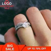 Moonso 925 Sterling Silver CZ 2 Pieces Princess Cut Wedding Bands Ring for Women Engagement Ring Set Moonso LR1433S