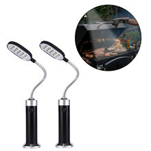 Behogar 2pcs Portable Magnetic 360 Degree Adjustable LED Light Lamp with 15 LED for BBQ Barbecue Outdoor Grill Accessories Tool