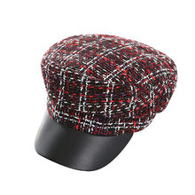 2018 New Winter Vintage Tweed Button Plaid Beret Hats For Women Gorras Planas Snapback Caps Female Military Hat Casquette Cap(China)