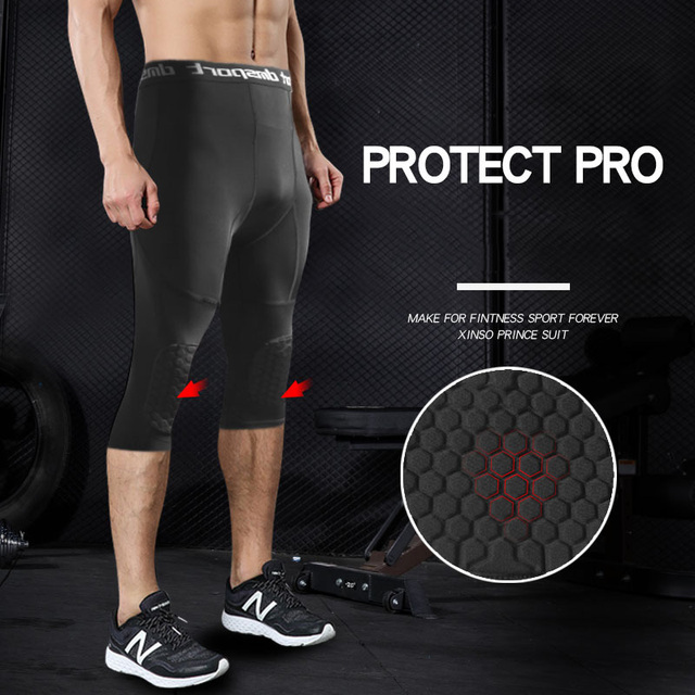 Safety Anti-Collision Basketball Shorts Men Fitness Training 3/4 Leggings With Knee Pads Sports 3XL Compression Trousers 3