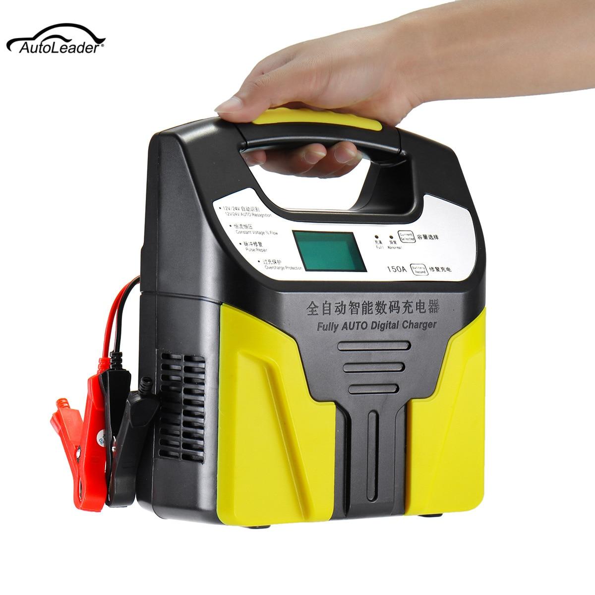 Autoleade 220 V 200 W chargeur de batterie de voiture Type de réparation Intelligent automatique avec écran LCD pour Batteries 12 V/24 V/2AH-200AH