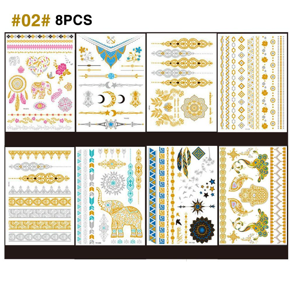 8 Sheets Metallic Temporary Tattoos For Women Teens Girls Gold Silver Temporary Tattoos Glitter Shimmer Designs Jewelry Tattoos