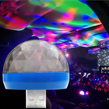Mini Portable USB Crystal Magic Ball Disco Light LED Warna-warni Efek Suara Control Stage Lampu Rumah Pesta Dekorasi(China)