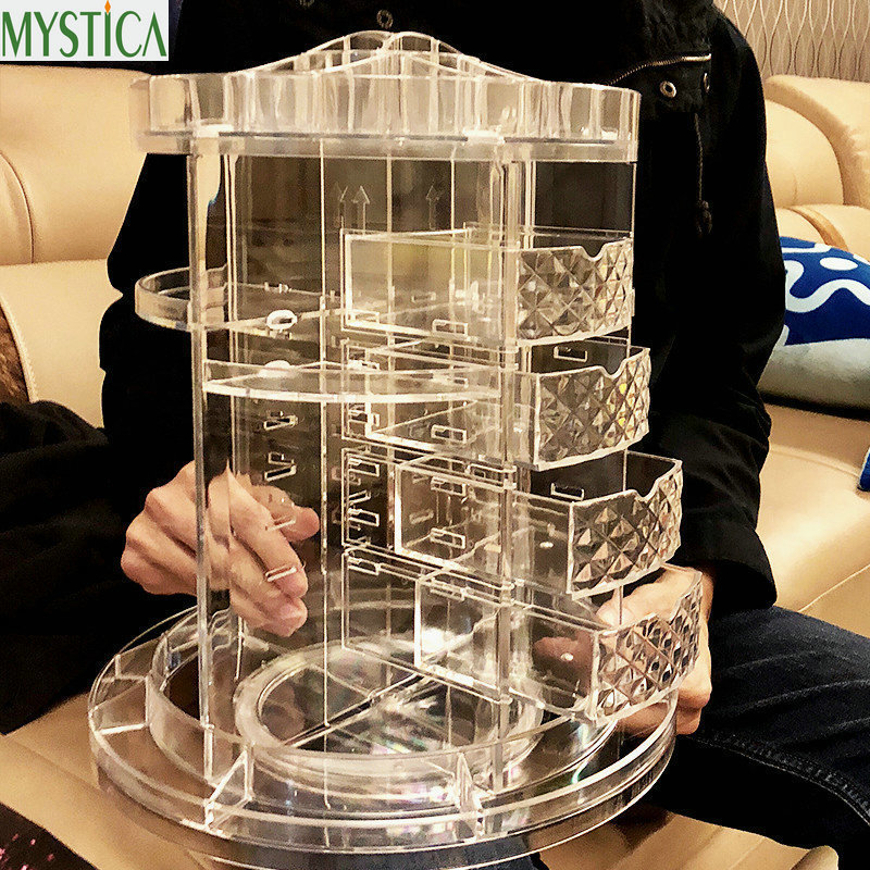 New 360-degree Rotating Drawer Makeup Storage Box Brush Holder Jewelry Organizer Case Transparent Acrylic Cosmetic Organizer Box