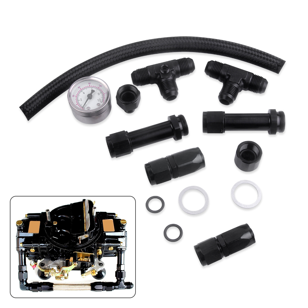 6 AN Holley 4150 Carb Carburetor Dual Feed Fuel Line Kit Braided Hose NEW F5