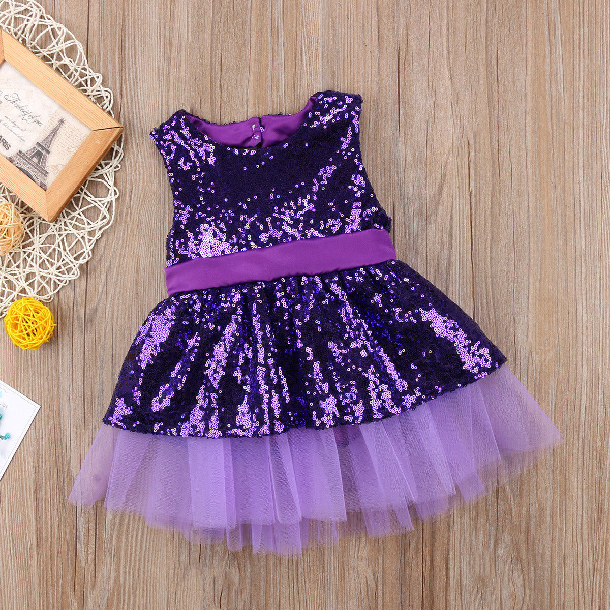 Toddle Kids Baby Girls Heart Sequins Princess Shining Wedding Gown Formal Dress