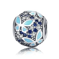 New Arrival 925 Sterling Silver Butterfly Dream Blue Enamel Clear CZ Charms Beads fit Bracelets Necklaces Jewelry SCC931 BAMOER