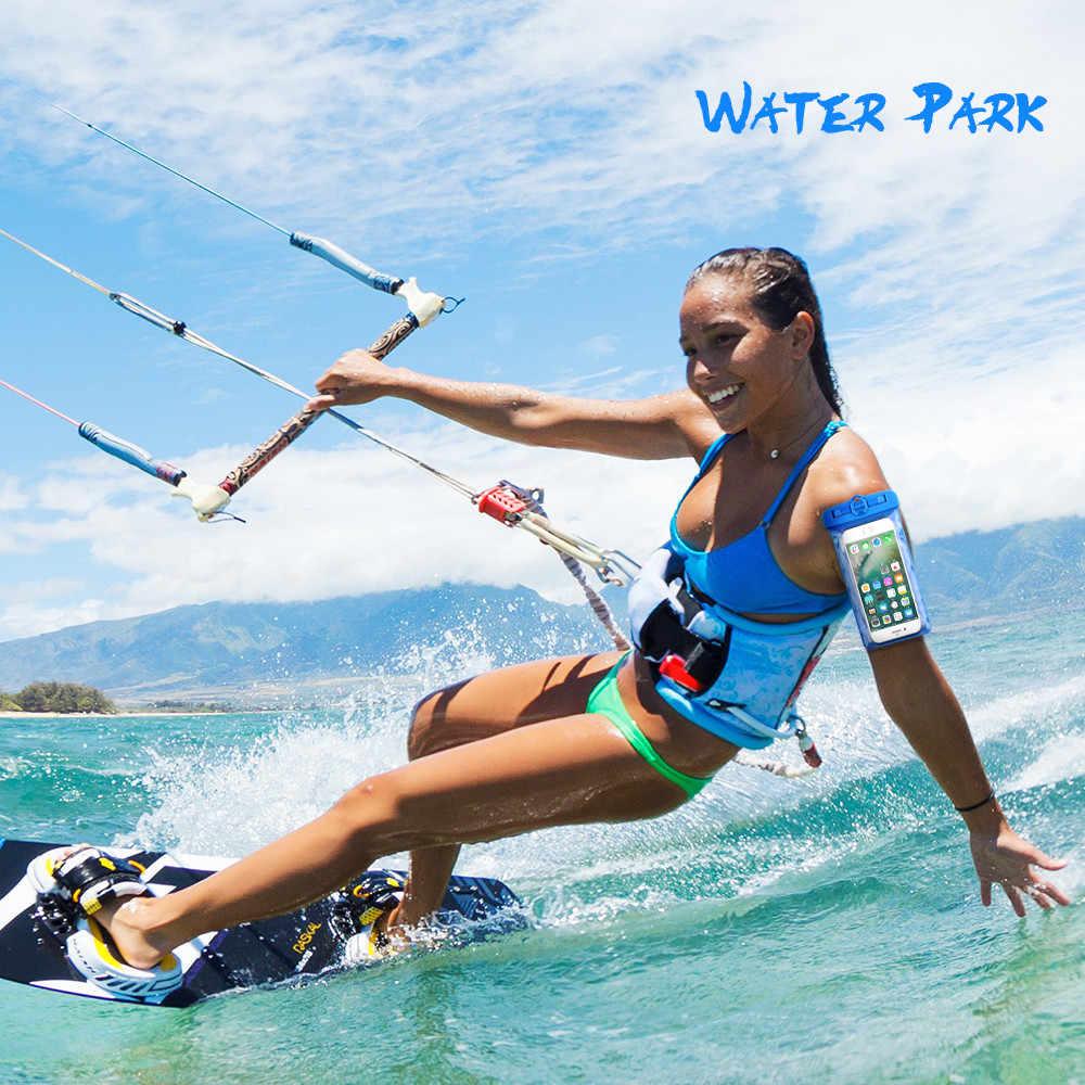 KISSCASE için su geçirmez kol telefonu çanta 6.2 inç dalış yüzme çantası el ücretsiz ABS kapak sörf telefon kılıfı ücretsiz şerit kemer
