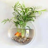 Behogar 15cm de diâmetro mini acrílico redondo tigelas de peixe fixado na parede pendurado tanque aquário aquático animal estimação flor planta vaso aquário