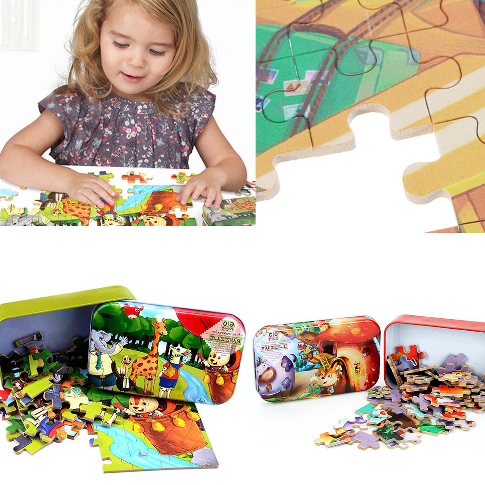 New Kids Toy 60 Pieces Wooden Puzzle Animal Cartoon Puzzles Wood Jigsaw Baby Child Early Educational Toys