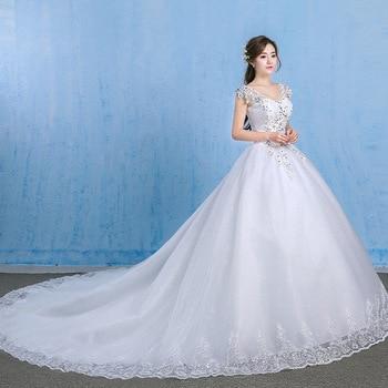 Luxury Plus Size Wedding Dress Elegant Lace Appliques V-neck Beading Wedding Gowns 2020 Crystal Lace Up White Vestido De Noiva