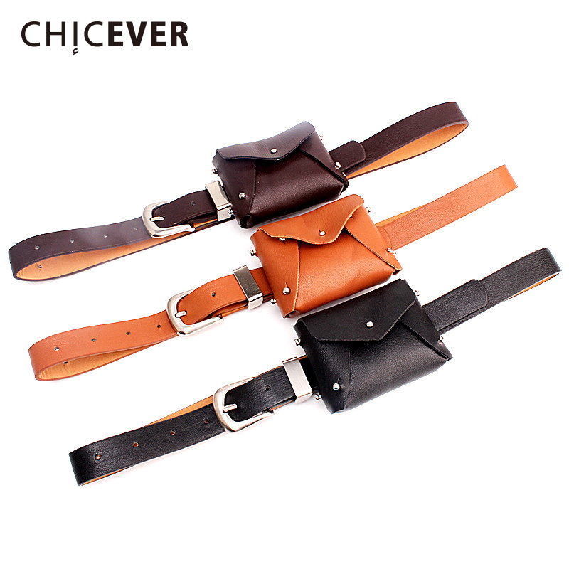 CHICEVER 2020 Spring Summer Fashion Belt For Women With Bag Rivets PU Leather Casual Women's Belts Accessories New