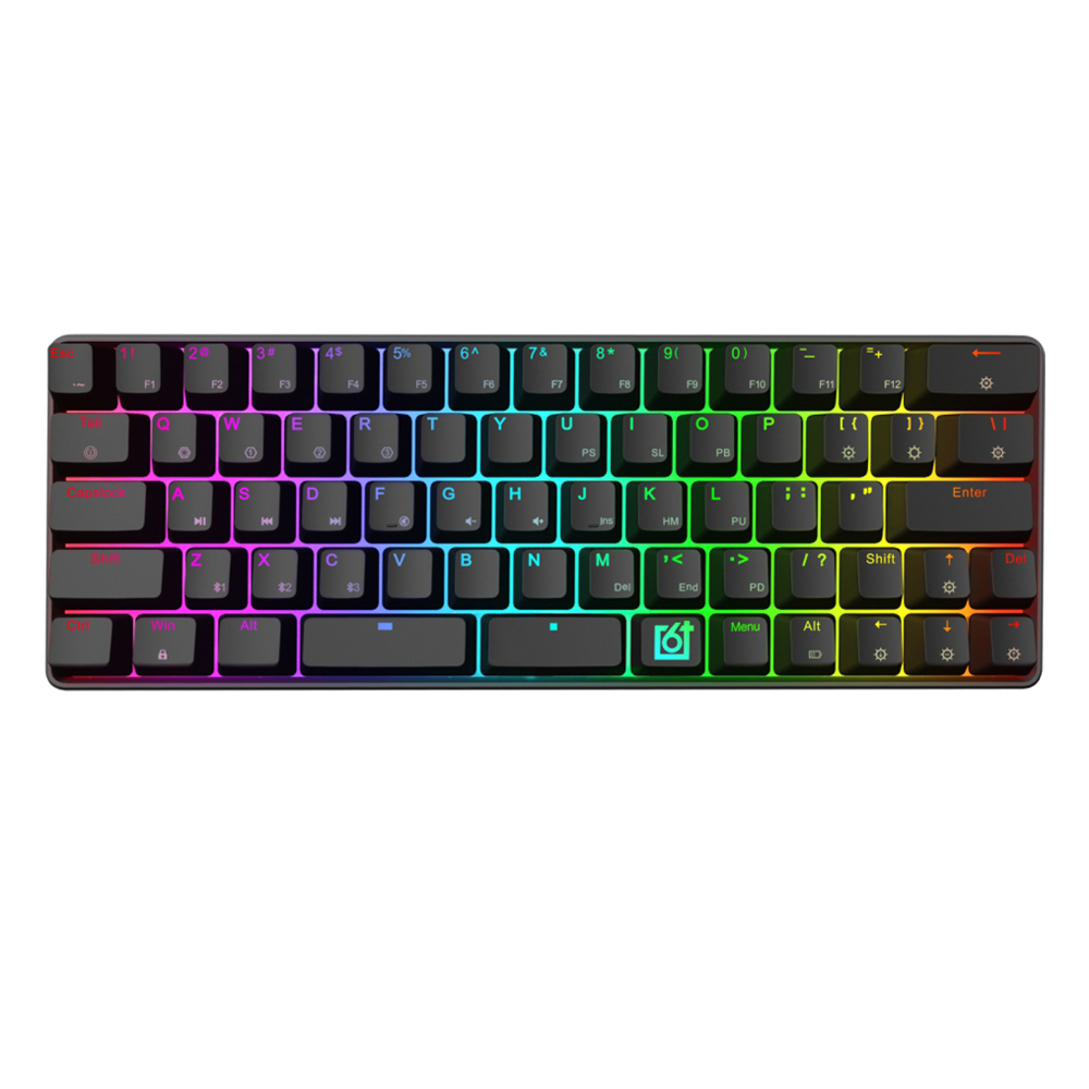 GK66 Bluetooth USB C Dual Mode Split Spacebar Hot swappable Gateron Optical Switch RGB Mechanical Gaming