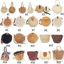 2019 Women Vintage Beach Straw Bag Ladies Handmade Woven Rat