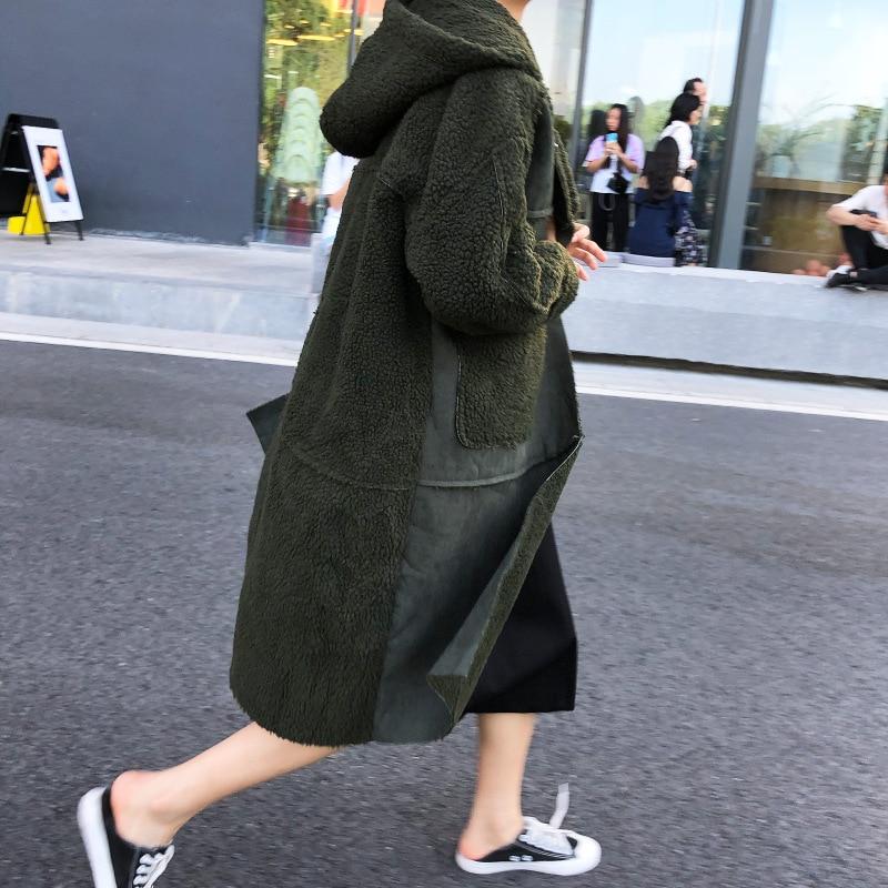 Peluche Wam Feminina Chaud Lanmrem De À Veste Green Nouveau army Jaqueta Femelle 2018 En Double Yf399 Mode Capuchon Manteau Khaki Patchwork Poches C0Tq6wCx