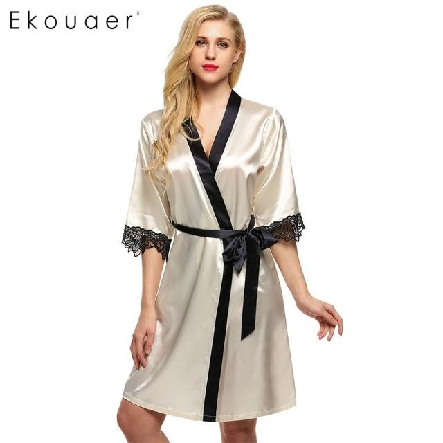 Ekouaer Women Kimono Robe Knee Length Bathrobe Sexy Lingerie Sleepwear  Short Satin Lace Nightwear Bridesmaid Robes ad1c317b7