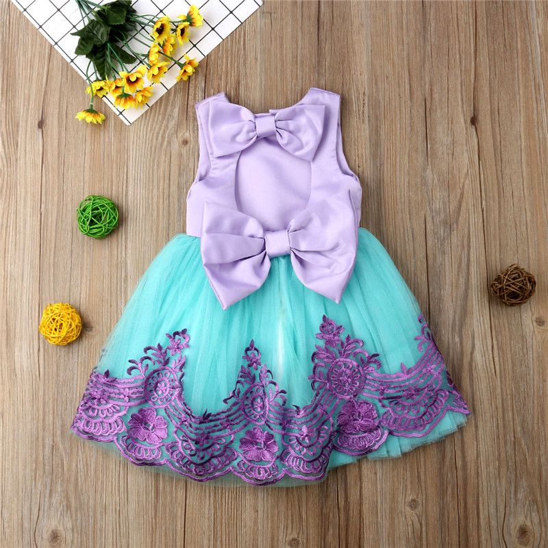 Kids Baby Girls Formal Embroidery Flowers Princess Dress Sleeveless Tutu Tulle Party Wedding Dress Bow Backless Ball Gown 6M-5Y