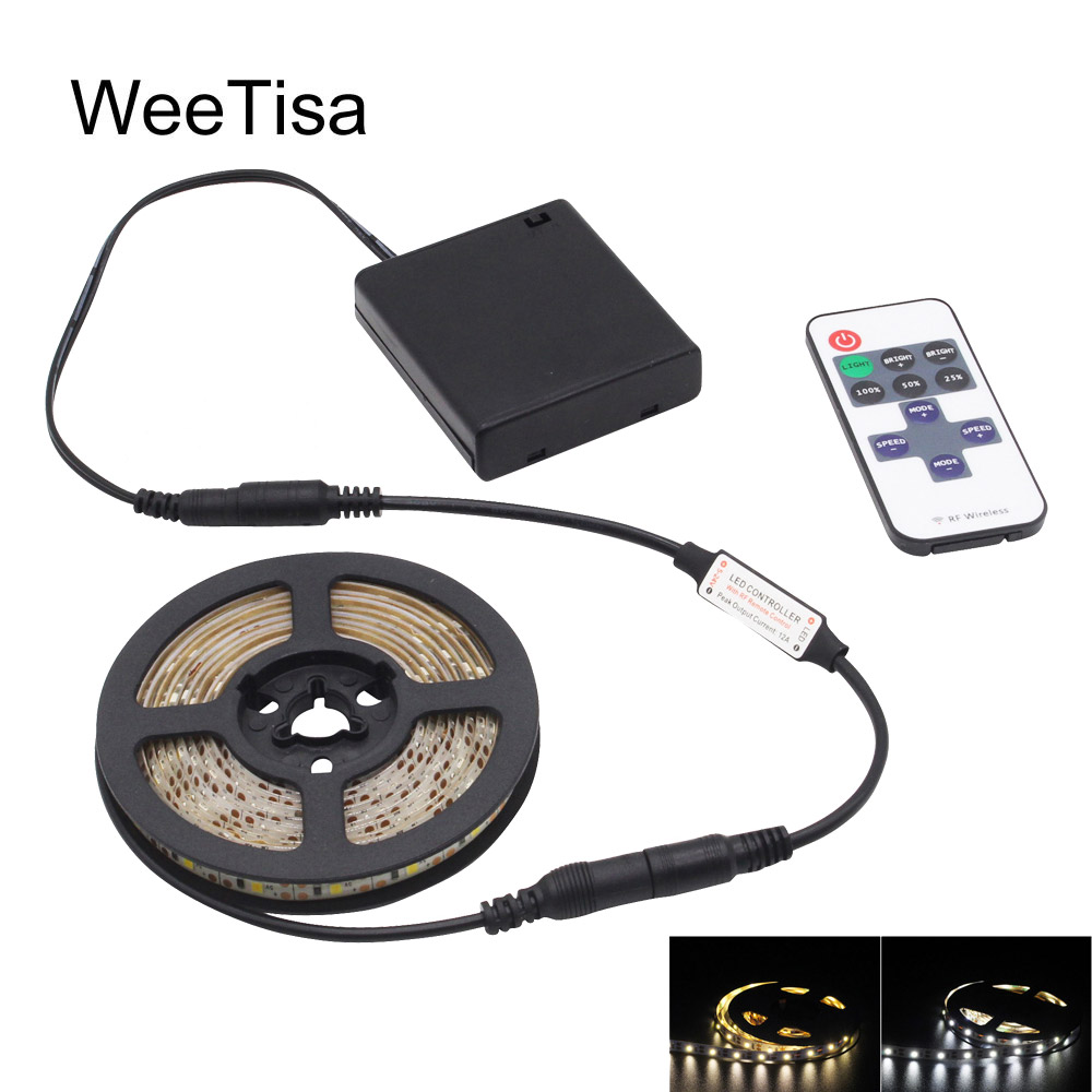 Dimmable LED Strip Battery Operated SMD 2835 RF Remote Control Waterproof 5V LED Stripe Tape Light Battery Powered with Switch
