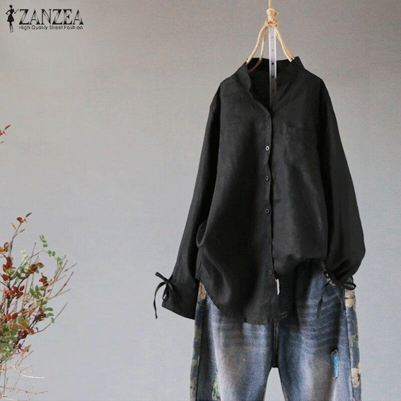 ZANZEA Women Blouse Ladies Mandarin Collar Buttons Shirt Casual Bow Tie Sleeve Tops 2019 Spring Female Tunic Blusas Retro Shirts