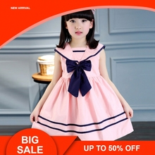 Children Girls Dress Bowknot Kids Sailor Dresses Sleeveless Cotton Summer
