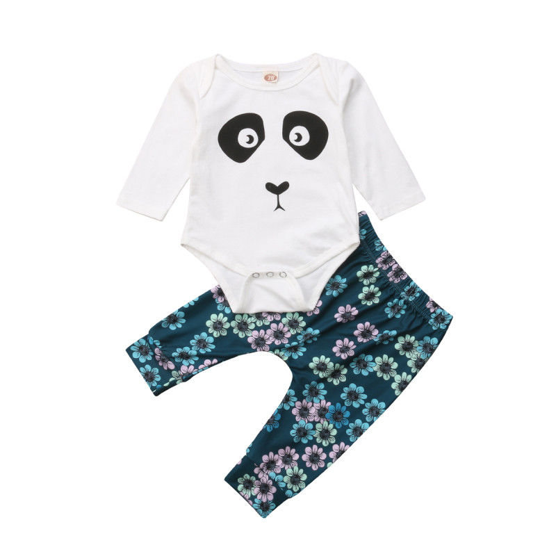 Newborn Baby Boy Girl Panda Tops Romper Flower Pants Leggings Set Outfit Clothes-in Clothing