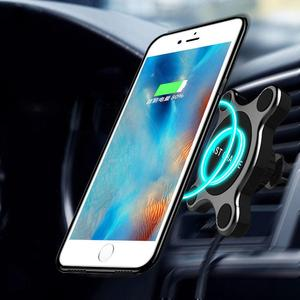 Image 2 - Group Vertical Vertical Universal Fast Wireless Car Charger Magnetic Charging Pad Holder For Samsung iPhone XS Smart Phones R20