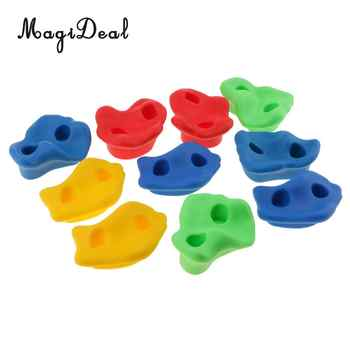 10Pcs Climbing Frame Mixed Color Rock Climbing Wall Stones Hand Feet Holds Grip Hardware Kits for Kids Chidren Outdoor Fun Toys