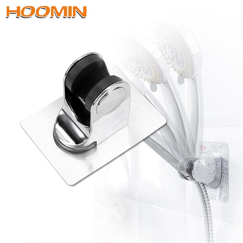 HOOMIN Seamless Shower Head Base Shower Bracket Punch Free Wall Mount Bathroom Hook Adjustable