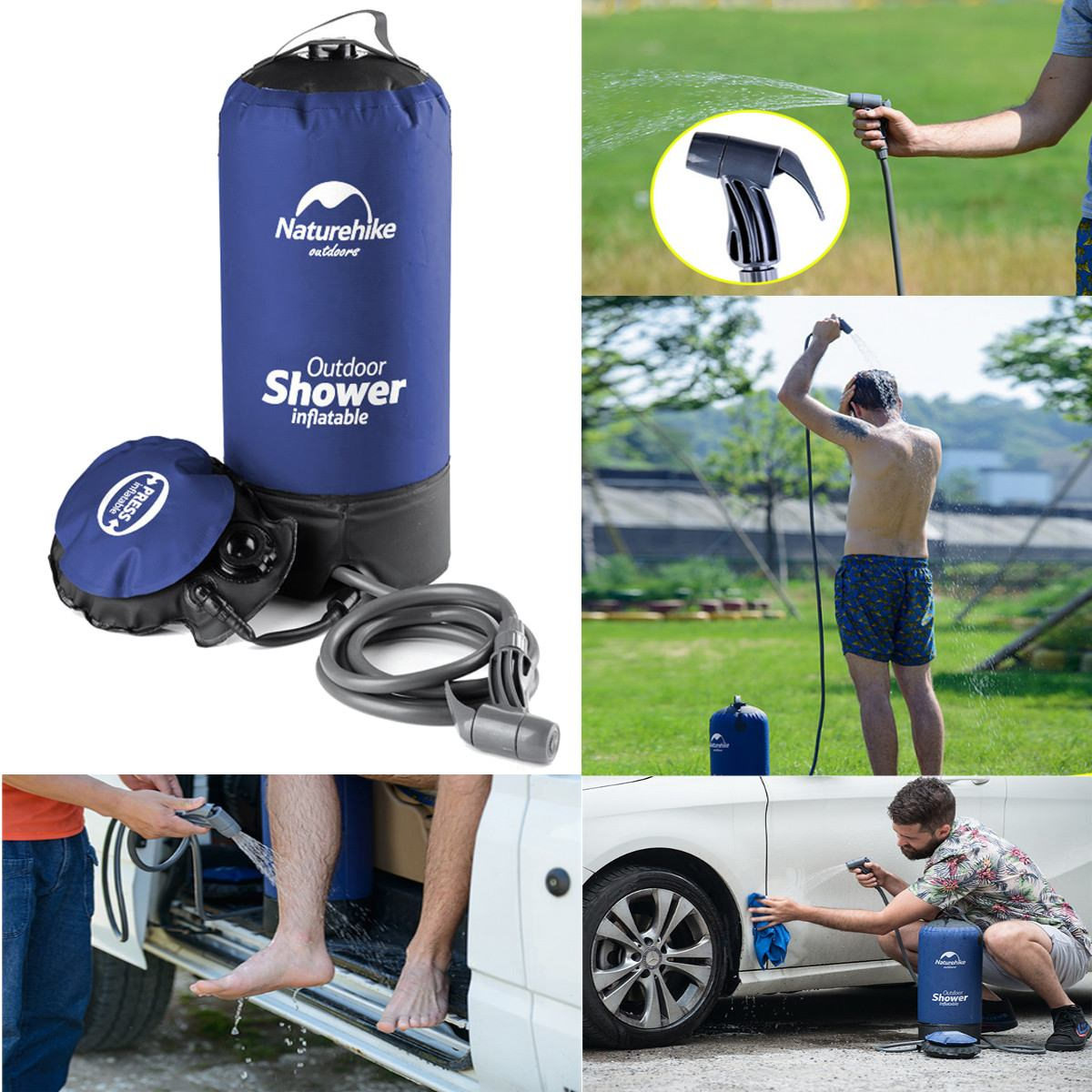 12L Inflatable Shower Pressure Shower Water Bag Portable Outdoor Hiking Shower Bag Folding Barrel Camping Water Storage Bags