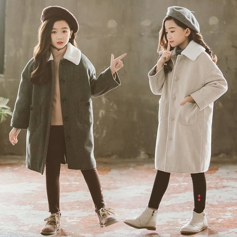 woolen fur collars trench coats kids solid cotton long jackets for teenage girls outerwear clothing children fashion jacket girl 2018 children s autumn clothing solid color cartoon trench coats girls casual medium long outerwear