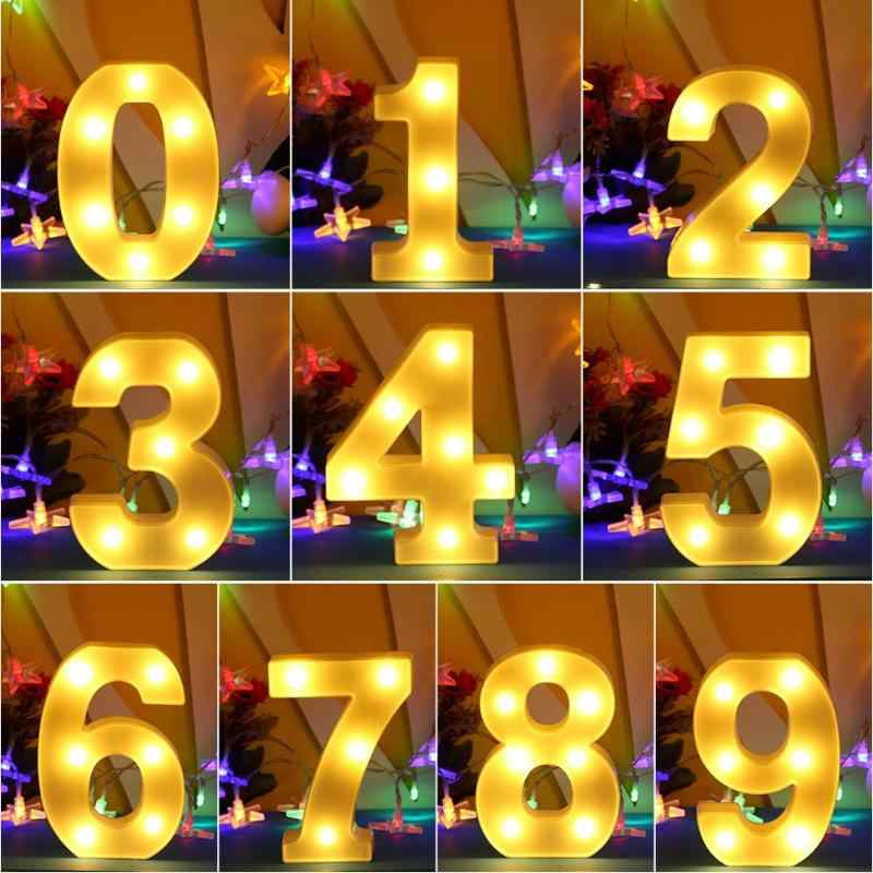 0 to 9 Number LED Letter Night Light Light Alphabet Battery Wall Decoration Party Wedding Birthday Decor Valentine's Day Gift