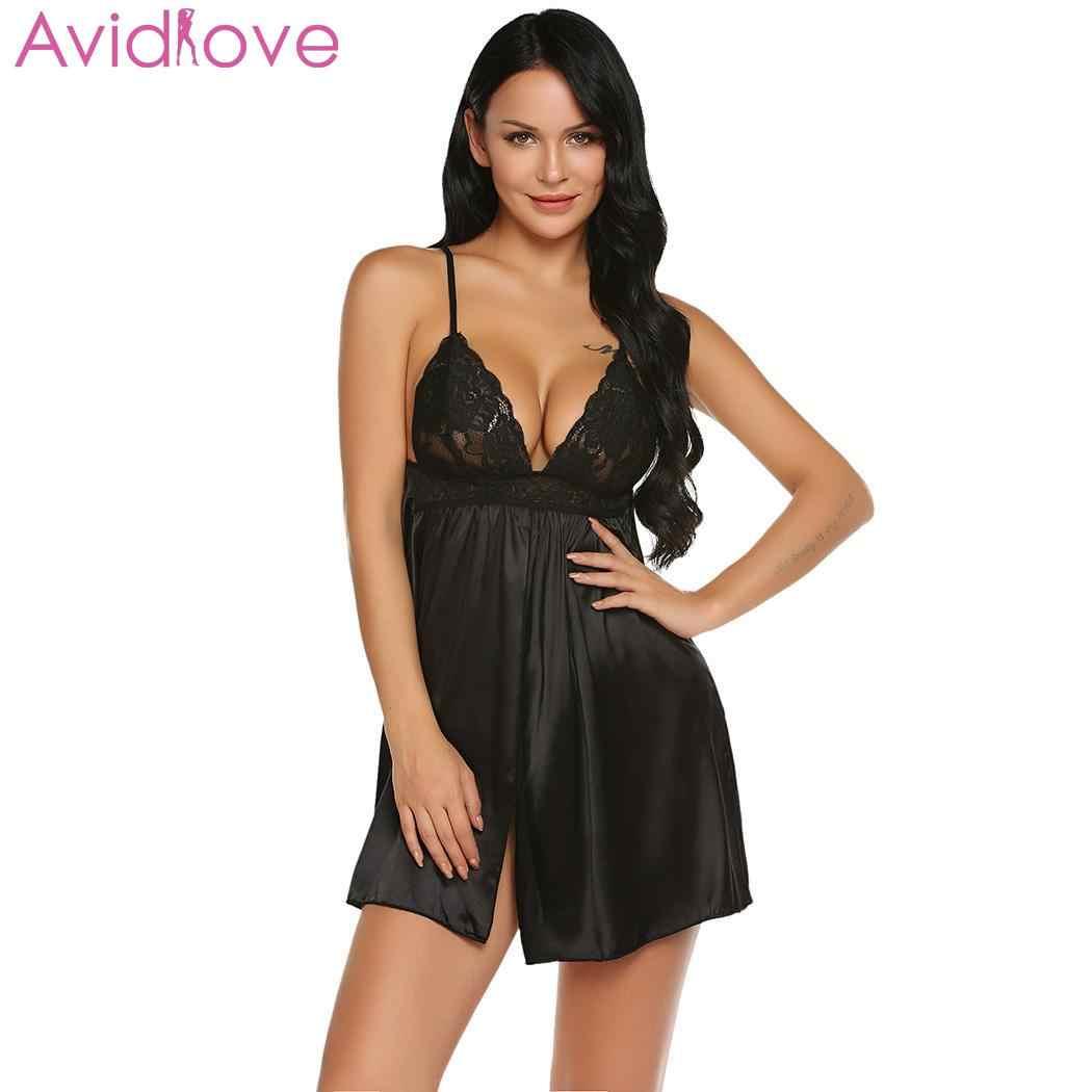 Avidlove женские пикантные шелковые атласные Ночная рубашка без рукавов  белье комбинация большого размера летние пижамы Ночное 3cb5db5865931